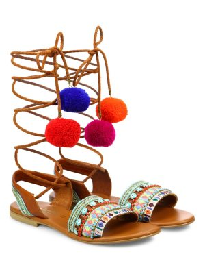 Elina Linardaki l.a. lover embroidered leather high-wrap sandals