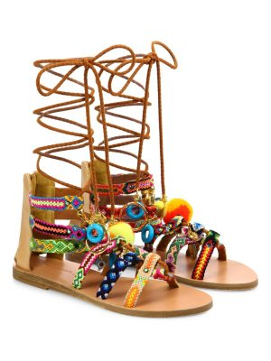 Elina Linardaki pinata embroidered leather mid-wrap sandals