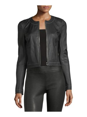 Elizabeth and James Helen Zip-Front Fitted Leather Jacket with Contrast Stitching