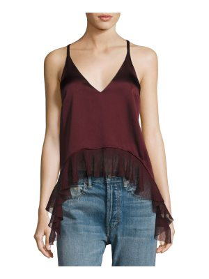 Elizabeth and James Manette Satin Ruffled Tank Blouse