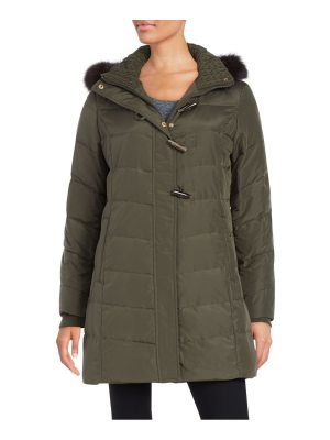 Ellen Tracy Fox Fur-Trimmed Puffer Coat