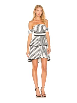 endless rose Striped Off the Shoulder High Low Dress