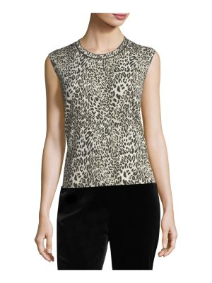 Escada Leopard Virgin Wool Shell Top