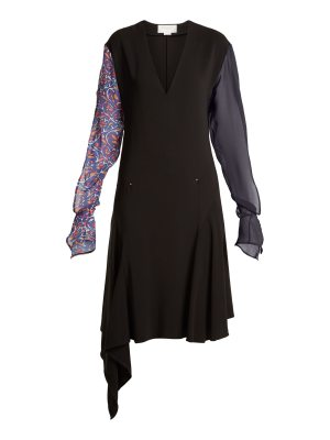 ESTEBAN CORTÁZAR Contrast-sleeve V-neck stretch-crepe dress