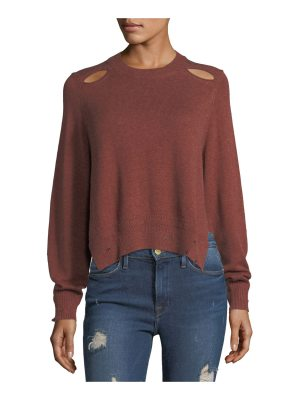 Etoile Isabel Marant Kelia Crewneck Distressed Cotton-Wool Sweater