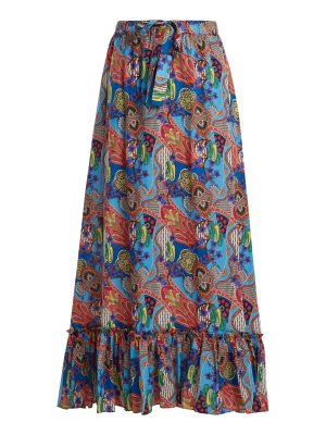 Etro abstract floral print ruffle trim cotton skirt