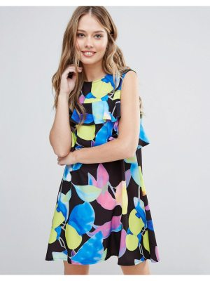 Every Cloud Electric Print Mini Dress With Ruffle Detail