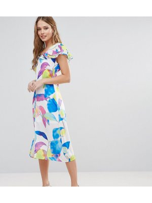 Every Cloud Electric Print Ruffle Midi Dress
