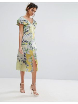 Every Cloud Floral Ruffle Midi Dress