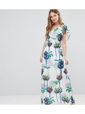 Every Cloud Hazey Palm Print One Shouder Maxi Dress