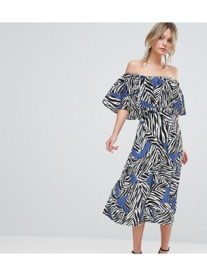 Every Cloud Mutli Zebra Bardot Midi Dress
