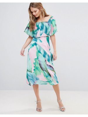 Every Cloud Palm Print Bardot Midi Dress
