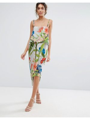 Every Cloud Palm Print Midi With Double Layer