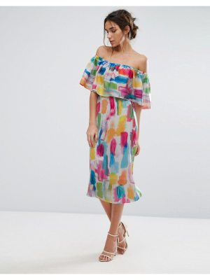 Every Cloud Smudge Print Bardot Midi Dress