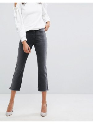 Evidnt high rise crop mom jeans with frayed hem-black