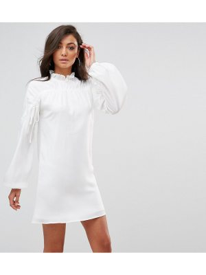 Fashion Union Tall Long Sleeve Smock Dress With Ribbon Tie Gathers