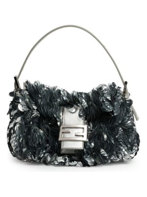 Fendi baguette paillette-embellished leather shoulder bag