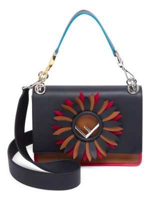 Fendi kan i f colourblock leather shoulder bag embellished with a daisy flower