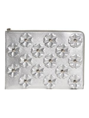 Fendi studded flowers calfskin clutch