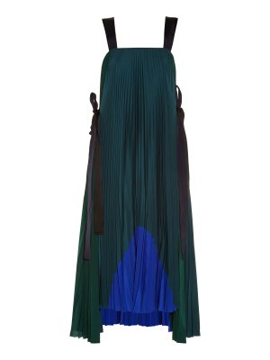 Fendi Tie-side pleated crepe de Chine dress
