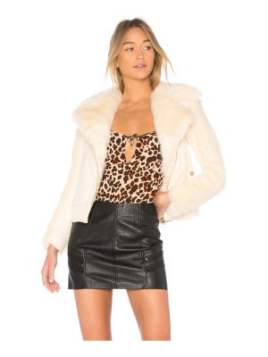 For Love & Lemons Andi Faux Fur Moto Jacket