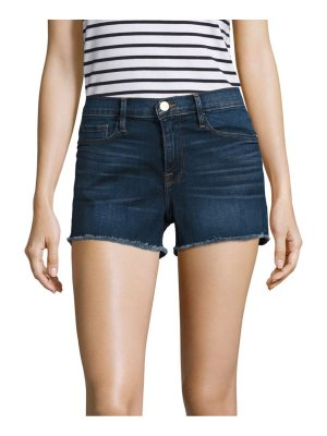 FRAME le cut off mid-rise fitted raw hem denim shorts