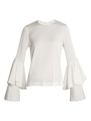 Galvan London Bell-sleeve crepe-back satin blouse