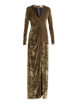 Galvan London Deep V-neck hammered-velvet gown