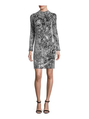 Galvan London Flocked-Sequin Long-Sleeve Cocktail Dress
