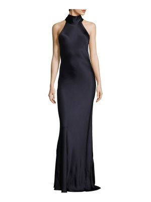 Galvan London silk tie neck gown