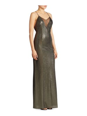 Galvan London sleeveless metallic gown