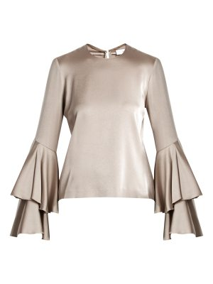 Galvan London Tiered-sleeve crepe-back satin top