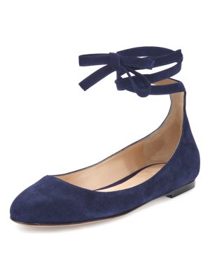 Gianvito Rossi Carla Suede Lace-Up Flat
