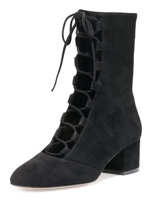 Gianvito Rossi Delia Suede Lace-Up Ankle Boot