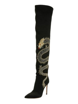 Gianvito Rossi Dragon Cuissard Over-The-Knee Satin Boot