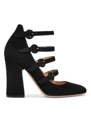 Gianvito Rossi Multi-Strap Suede Mary Jane Block Heel Pumps