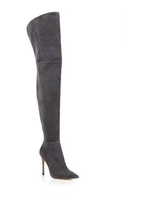 Gianvito Rossi lea cuissard over-the-knee suede point toe boots