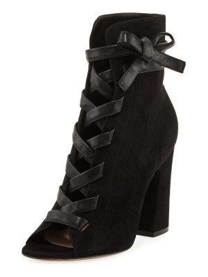 Gianvito Rossi Fraser Suede Open-Toe Lace-Up Bootie
