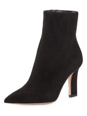 Gianvito Rossi Point-Toe Suede Zip Bootie