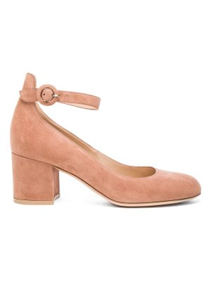 Gianvito Rossi Suede Ankle Strap Flats