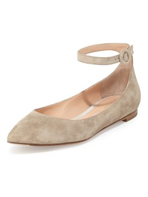 Gianvito Rossi Suede Ankle-Wrap Skimmer Flat