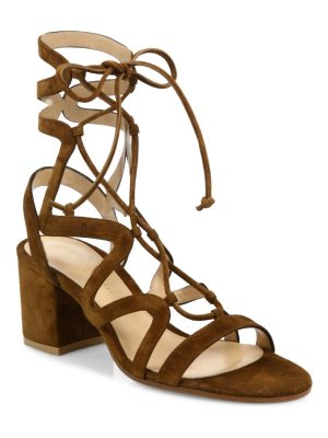Gianvito Rossi suede lace-up block heel sandals