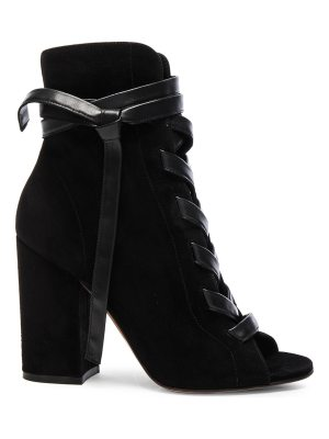 Gianvito Rossi Suede Lace Up Booties