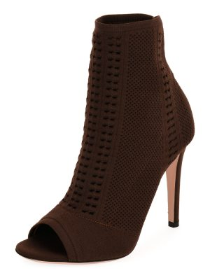 Gianvito Rossi Vires Knit Open-Toe Bootie