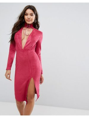 Ginger Fizz plunge front midi bodycon dress with tie choker detail-pink