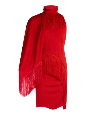 Givenchy Fringed high-neck compact-jersey dress