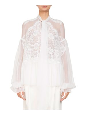 Givenchy Long-Sleeve Flounce-Hem Sheer Silk Georgette Blouse w/ Lace