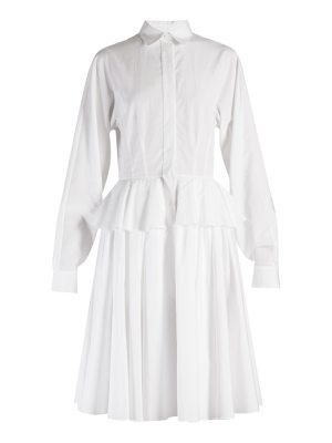 Givenchy Point-collar fluted-peplum cotton dress