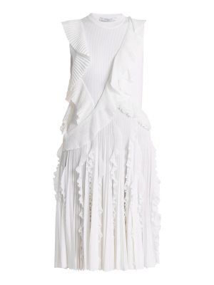 Givenchy Ruffle-trimmed sleeveless pleated-knit dress