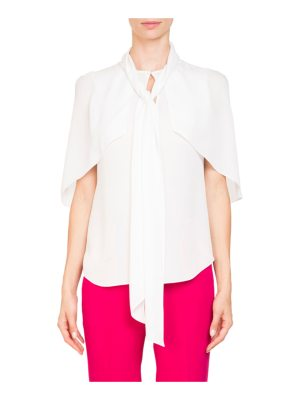 Givenchy Short Cape Sleeve Silk Georgette Blouse